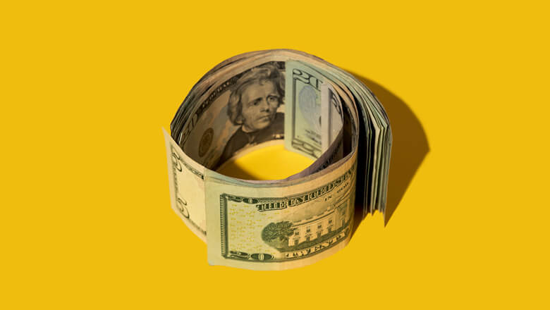 cash on yellow background