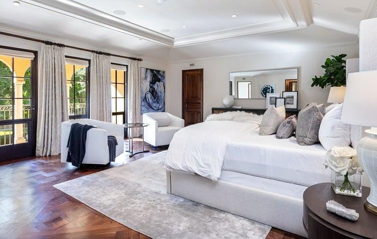 Bedroom of an ultra-luxurious villa on N. Roxbury Drive.