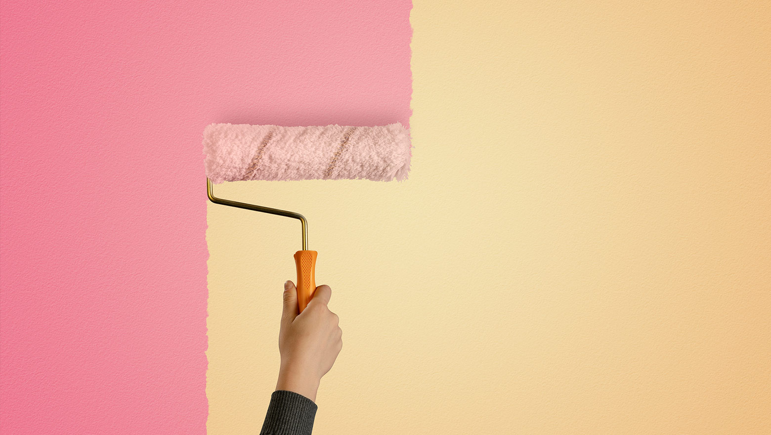 pink and yellow wall painting mobile