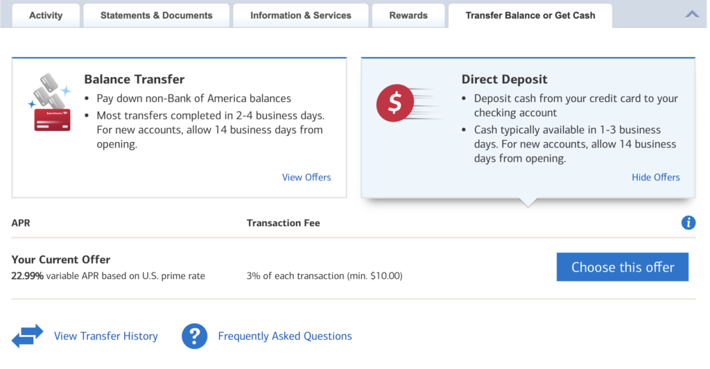 Screenshot showing how to transfer funds on Bank of America's website